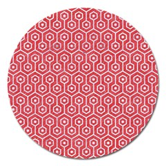 Hexagon1 White Marble & Red Colored Pencil Magnet 5  (round) by trendistuff