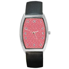 Hexagon1 White Marble & Red Colored Pencil Barrel Style Metal Watch by trendistuff