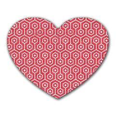 Hexagon1 White Marble & Red Colored Pencil Heart Mousepads by trendistuff