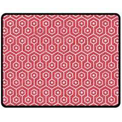 Hexagon1 White Marble & Red Colored Pencil Fleece Blanket (medium)  by trendistuff