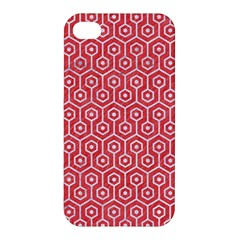 Hexagon1 White Marble & Red Colored Pencil Apple Iphone 4/4s Premium Hardshell Case by trendistuff