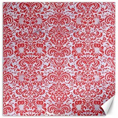 Damask2 White Marble & Red Colored Pencil (r) Canvas 12  X 12   by trendistuff
