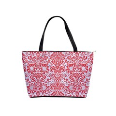 Damask2 White Marble & Red Colored Pencil (r) Shoulder Handbags by trendistuff