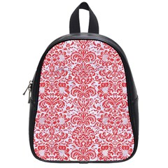 Damask2 White Marble & Red Colored Pencil (r) School Bag (small) by trendistuff
