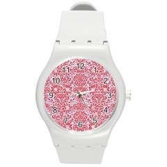 Damask2 White Marble & Red Colored Pencil (r) Round Plastic Sport Watch (m) by trendistuff