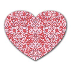 Damask2 White Marble & Red Colored Pencil Heart Mousepads