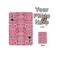 Damask2 White Marble & Red Colored Pencil Playing Cards 54 (mini)  by trendistuff