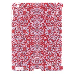 Damask2 White Marble & Red Colored Pencil Apple Ipad 3/4 Hardshell Case (compatible With Smart Cover) by trendistuff