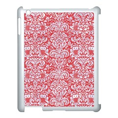 Damask2 White Marble & Red Colored Pencil Apple Ipad 3/4 Case (white) by trendistuff