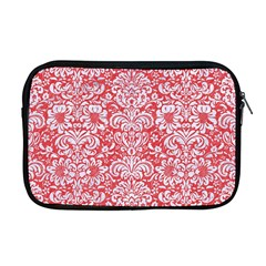 Damask2 White Marble & Red Colored Pencil Apple Macbook Pro 17  Zipper Case by trendistuff