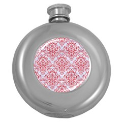 Damask1 White Marble & Red Colored Pencil (r) Round Hip Flask (5 Oz) by trendistuff