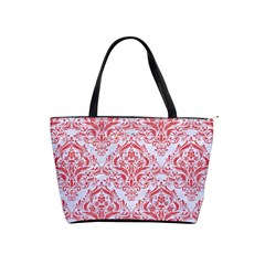 Damask1 White Marble & Red Colored Pencil (r) Shoulder Handbags by trendistuff