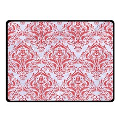 Damask1 White Marble & Red Colored Pencil (r) Double Sided Fleece Blanket (small)  by trendistuff