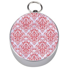 Damask1 White Marble & Red Colored Pencil (r) Silver Compasses by trendistuff