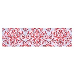 Damask1 White Marble & Red Colored Pencil (r) Satin Scarf (oblong) by trendistuff
