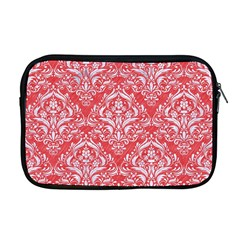 Damask1 White Marble & Red Colored Pencil Apple Macbook Pro 17  Zipper Case by trendistuff