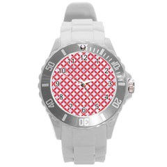 Circles3 White Marble & Red Colored Pencil (r) Round Plastic Sport Watch (l) by trendistuff