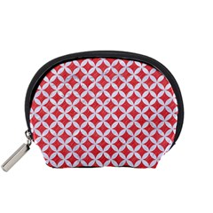 Circles3 White Marble & Red Colored Pencil Accessory Pouches (small)  by trendistuff