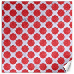 Circles2 White Marble & Red Colored Pencil (r) Canvas 16  X 16   by trendistuff