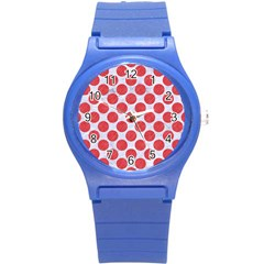 Circles2 White Marble & Red Colored Pencil (r) Round Plastic Sport Watch (s) by trendistuff