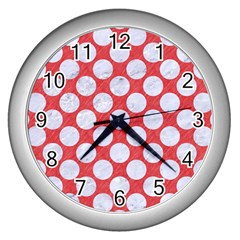 Circles2 White Marble & Red Colored Pencil Wall Clocks (silver)  by trendistuff