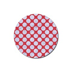 Circles2 White Marble & Red Colored Pencil Rubber Round Coaster (4 Pack)  by trendistuff