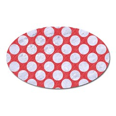 Circles2 White Marble & Red Colored Pencil Oval Magnet by trendistuff