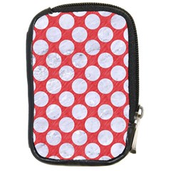 Circles2 White Marble & Red Colored Pencil Compact Camera Cases by trendistuff