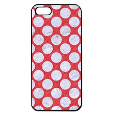 Circles2 White Marble & Red Colored Pencil Apple Iphone 5 Seamless Case (black) by trendistuff