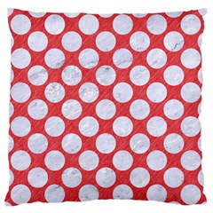 Circles2 White Marble & Red Colored Pencil Large Flano Cushion Case (one Side) by trendistuff
