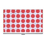 CIRCLES1 WHITE MARBLE & RED COLORED PENCIL (R) Business Card Holders Front
