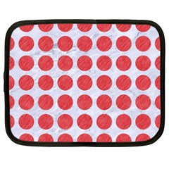 Circles1 White Marble & Red Colored Pencil (r) Netbook Case (xl)  by trendistuff