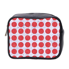 Circles1 White Marble & Red Colored Pencil (r) Mini Toiletries Bag 2 Side by trendistuff