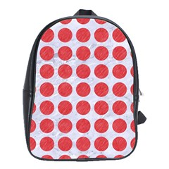Circles1 White Marble & Red Colored Pencil (r) School Bag (xl) by trendistuff