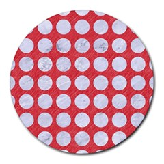 Circles1 White Marble & Red Colored Pencil Round Mousepads by trendistuff