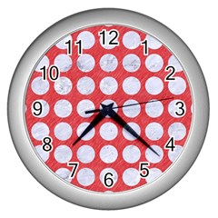 Circles1 White Marble & Red Colored Pencil Wall Clocks (silver)  by trendistuff