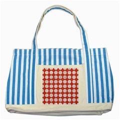 Circles1 White Marble & Red Colored Pencil Striped Blue Tote Bag by trendistuff