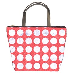 Circles1 White Marble & Red Colored Pencil Bucket Bags by trendistuff