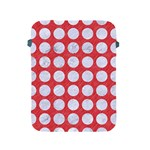 CIRCLES1 WHITE MARBLE & RED COLORED PENCIL Apple iPad 2/3/4 Protective Soft Cases Front