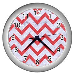 Chevron9 White Marble & Red Colored Pencil (r) Wall Clocks (silver)  by trendistuff