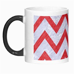 Chevron9 White Marble & Red Colored Pencil (r) Morph Mugs by trendistuff