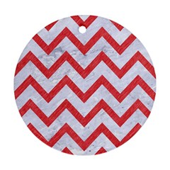 Chevron9 White Marble & Red Colored Pencil (r) Round Ornament (two Sides) by trendistuff
