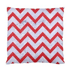 Chevron9 White Marble & Red Colored Pencil (r) Standard Cushion Case (two Sides) by trendistuff