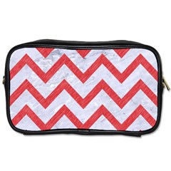 Chevron9 White Marble & Red Colored Pencil (r) Toiletries Bags 2 Side by trendistuff