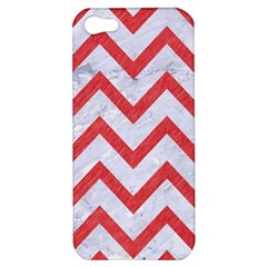 Chevron9 White Marble & Red Colored Pencil (r) Apple Iphone 5 Hardshell Case by trendistuff
