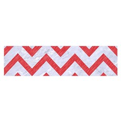 Chevron9 White Marble & Red Colored Pencil (r) Satin Scarf (oblong) by trendistuff
