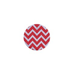Chevron9 White Marble & Red Colored Pencil 1  Mini Buttons