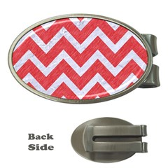 Chevron9 White Marble & Red Colored Pencil Money Clips (oval)  by trendistuff