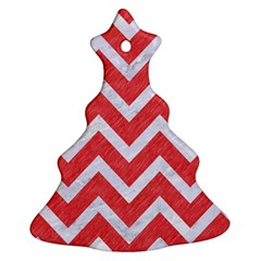 Chevron9 White Marble & Red Colored Pencil Ornament (christmas Tree)  by trendistuff