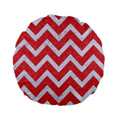 Chevron9 White Marble & Red Colored Pencil Standard 15  Premium Flano Round Cushions by trendistuff
